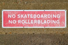 No Skateboarding Stock Photos