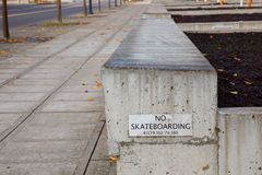 No Skateboarding Sign on Ledge Stock Photography