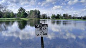 No Skating - Thin Ice. `No Skating` in summer - Thin ice as an ironic statement; Sardonic statement Royalty Free Stock Photos