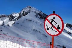 No skiing outside ski trail redtriction sign in Krasnaya Polyana, Sochi Royalty Free Stock Photos
