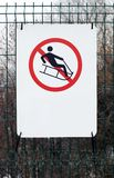 No sledding allowed sign Royalty Free Stock Photos
