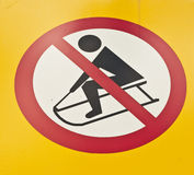 No sledging metal sign Stock Photography