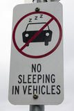 No sleeping in vehicles Stock Image