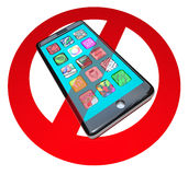 No Smart Phones Do Not Call Talk on Cell Phone Telephone. A red No or Stop sign over a smart phone showing apps to warn you not to use your telephone in a Stock Photography