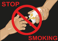 No smoke. Reject the offer of cigarettes. The concept of tobacco Royalty Free Stock Image