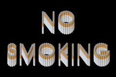 No Smoking. Words No Smoking from cigarette Stock Photography