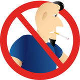 No smoking. Sign with man Royalty Free Stock Photos