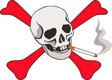 No smoking. Illustration with cigarette and skeleton Royalty Free Stock Photos