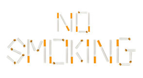 No smoking. Inscription of cigarettes - No smoking. Isolated on white background Royalty Free Stock Images