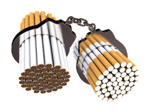 No smoking. To handcuff cigarettes on white background (computer generated image Stock Illustration