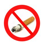 No smoking. A naturalistic no smoking caution(sign) on white background Royalty Free Stock Photography