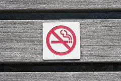 No Smoking. A no smoking sign that is on a park bench Stock Photo