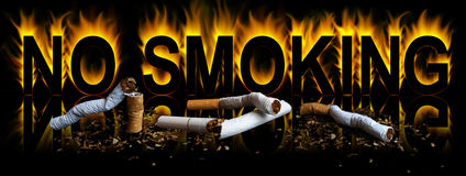 No smoking. Cigarette in fire background Royalty Free Stock Images