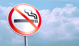 No smoking. Sign against the blue sky Royalty Free Stock Photography