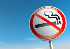 No smoking. Sign against the blue sky Stock Image