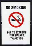 No Smoking Alert, Extreme Fire Hazard Board Sign. No smoking alert due to extreme fire hazard, sign royalty free stock photos
