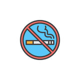 No smoking area line icon, filled outline vector sign, linear colorful pictogram isolated on white. Royalty Free Stock Image