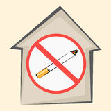 No smoking area sign. House icon and striked out cigarette. Vector illustration Stock Photo
