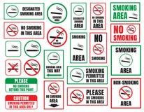 No smoking and Smoking area. Signs in vector Stock Photos