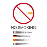 No smoking background with cigarette and flags Stock Photo
