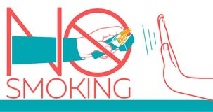 No Smoking banner. Concept of abandoning the harmful habit of smoking in the form of a hand with a pack of cigarettes and a hand refusing to smoke with a Stock Photos