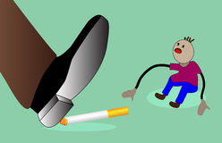 No smoking. Big foot destroying cigarette .vector illustration vector illustration
