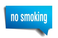 No smoking blue 3d speech bubble. No smoking blue 3d square isolated speech bubble Stock Photo
