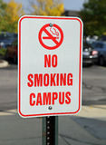 No smoking campus sign in parking area. Sign signalling no smoking policy allowed on campus royalty free stock images