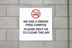 No smoking at college campus university school sign for students create smoke free environment air. Health and clean fresh lungs Royalty Free Stock Image