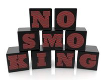 No smoking concept on black cubes on white background. In background royalty free illustration