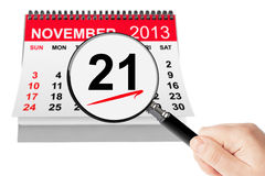 No Smoking Day Concept. 21 November 2013 calendar with magnifier. On a white background Royalty Free Stock Photos