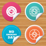 No smoking day icons. Against cigarettes. Stock Photo