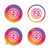 No smoking day sign icon. Quit smoking day. No smoking day sign icon. Quit smoking day symbol. Gradient buttons with flat icon. Speech bubble sign. Vector Royalty Free Stock Photography