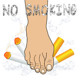 No smoking. Foot destroying cigarette-No smoking concept Royalty Free Stock Images