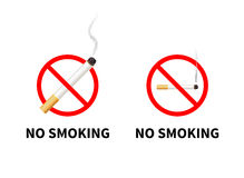 No smoking forbidden signs with realistic Royalty Free Stock Photography
