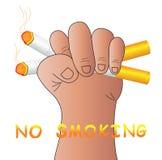 No smoking. A hand crushing cigarettes isolated on white background Stock Image