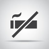 No smoking icon with shadow on a gray background. Vector illustration royalty free illustration