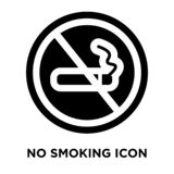 No smoking icon vector isolated on white background, logo concept of No smoking sign on transparent background, black filled. No smoking icon vector isolated on vector illustration