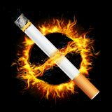 No Smoking. Illustration of no smoking sign with cigarette and fire flame circle Royalty Free Stock Photography