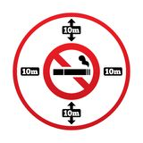 No smoking 10m distance sign. Stop smoking. No smoking 10m distance sign. No smoking around public places symbol. 10 meters away from the building. Vector Stock Image
