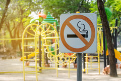 No Smoking Metal Sign In The Park. Royalty Free Stock Image