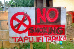No smoking metal sign plate in Tongan Stock Photos