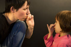 No for smoking of mother Royalty Free Stock Photography