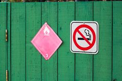 No smoking next to a flammable category 3 hazard sign.  Royalty Free Stock Images