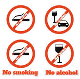 No smoking no alcohol Stock Photography