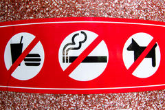 No smoking, No Dog, No food sign in public place Royalty Free Stock Photo