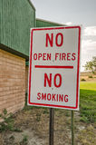 No Smoking, No Open Fires Sign. Sign to remind travelers at a rest stop in Wyoming that there is a serious drought and no one can have open fires or smoke in the Royalty Free Stock Photo