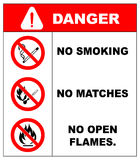 No smoking, No open flame, Fire, open ignition source and smoking prohibited signs. No smoking, No open flame, No matches. Fire, open ignition source and Royalty Free Stock Images