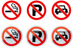 No Smoking and No Parking Signs. And Icons Stock Photo