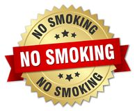 No smoking. Gold badge with red ribbon stock illustration